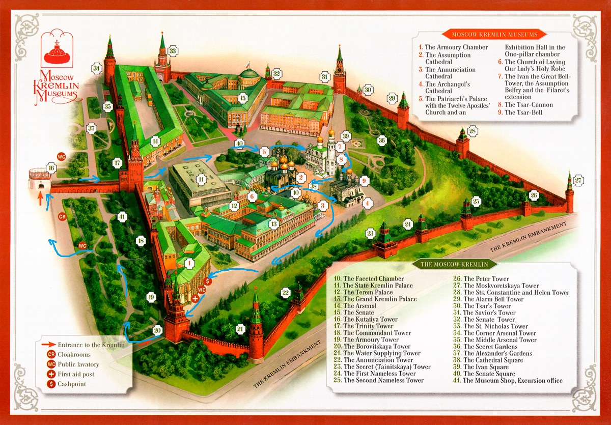 The Key Map of Moscow Kremlin - Moscow Must-See Sights & Attractions